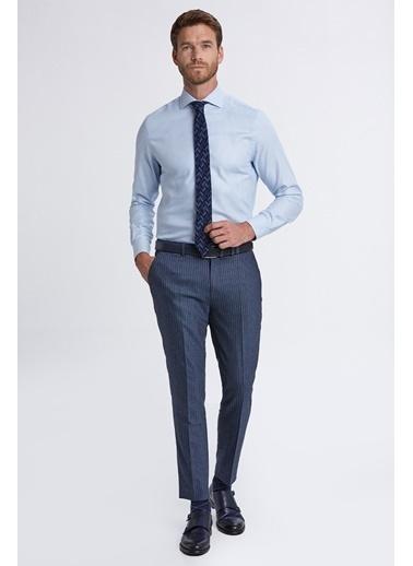 Hemington Italyan Yaka Mavi Desenli Business Gömlek Mavi